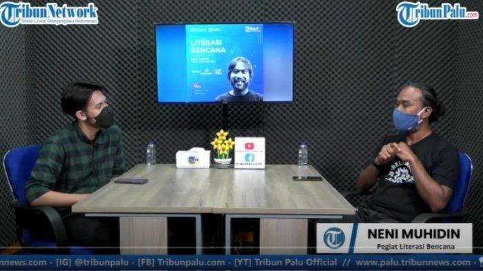 Pegiat Literasi Bencana, Neni Mudhidin saat berkunjung ke Studio TribunPalu.com