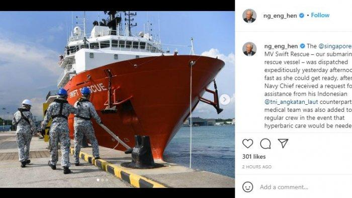 Menteri Pertahanan Singapura akan Kirim Kapal untuk Bantu Menyelamatkan KRI Nanggala-402