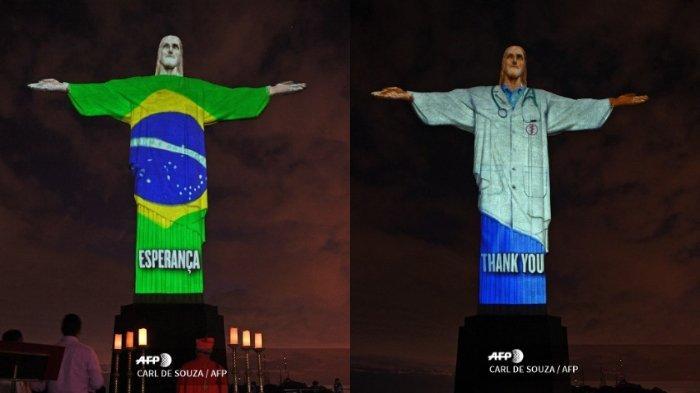 Perayaan Paskah di Tengah Pandemi COVID-19, Patung Yesus di Brasil Dihiasi Lampu Warna-Warni