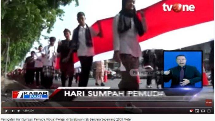 Peringati Sumpah Pemuda, 3.300 Pelajar di Surabaya Kirab Bendera Merah Putih Sepanjang 2.000 Meter