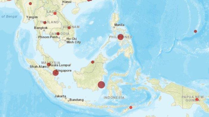 Peta sebaran kasus virus corona di kawasan Asia