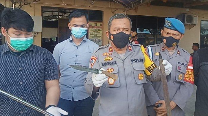Penampakan 3 Senjata yang Digunakan Pelaku Dugaan Pembunuhan di Jl Sapta Marga Palu