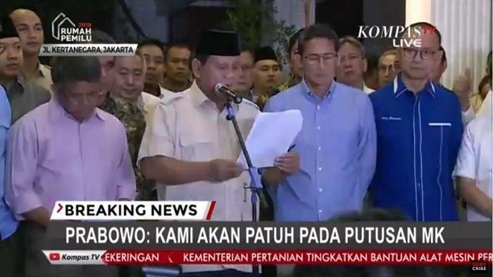 Transkrip Lengkap Pidato Prabowo-Sandi Terkait Kalahnya Gugatan Pilpres di MK
