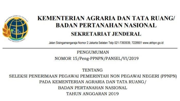 Rekrutmen Non Pegawai Ppnpn Kementerian Agraria Dan Tata Ruang Buka Hingga 14 Juni 2019 Ayo Daftar Halaman All Tribun Palu