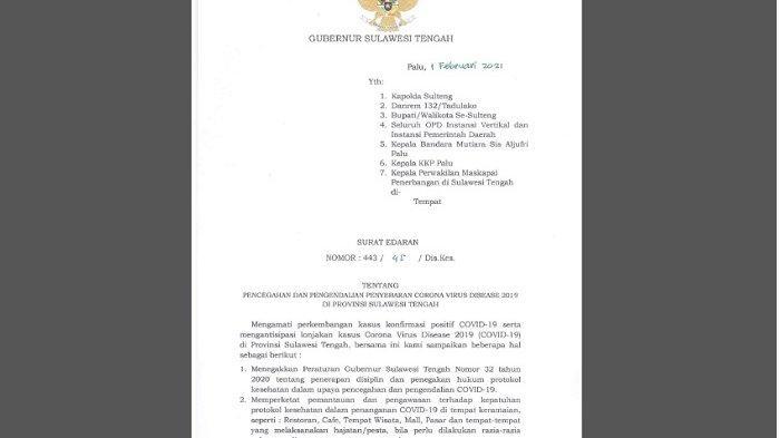 Kasus Covid-19 Makin Tinggi, Gubernur Sulteng Minta 11 Wilayah Ini Terapkan Semi PSBB