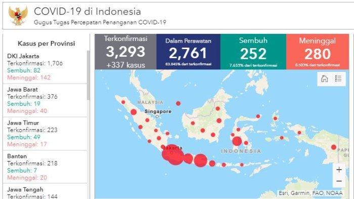 Daftar Wilayah Sebaran Corona di Indonesia Kamis (9/4/2020): Kasus Pertama di Nusa Tenggara Timur