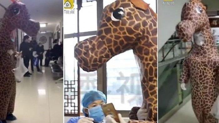 Masker Mulai Langka dan Mahal, Wanita Ini Gunakan Kostum Jerapah untuk Menangkal Virus Corona