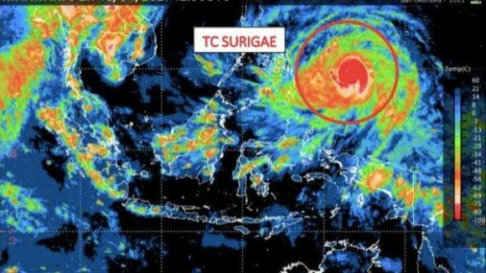 Siklon Tropis Surigae Meningkat dalam 24 Jam, Sulteng Waspada Hujan Lebat Disertai Petir & Angin