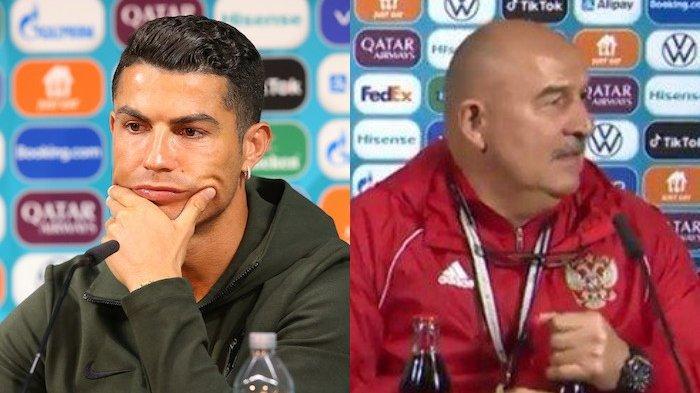 Seolah Ejek Aksi Cristiano Ronaldo Geser Botol Coca-Cola, Begini Tingkah Lucu Pelatih Rusia