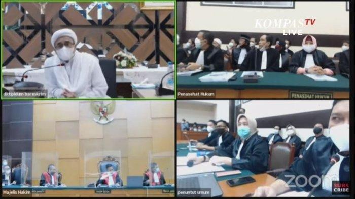 Suasana sidang perdana virtual Muhammad Rizieq Shihab atau Habib Rizieq, Selasa (16/3/2021). Rizieq meminta dirinya dihadirkan langsung ke ruang sidang karena mengalami banyak masalah saat sidang online.