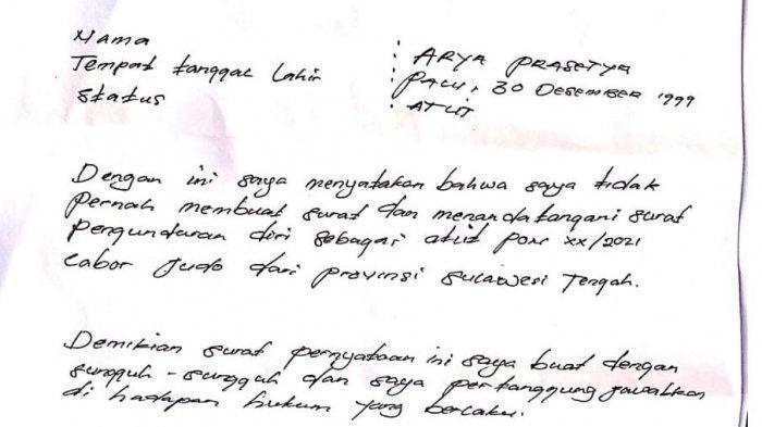 Surat Atlet Judo Kelas 80-90 Kilogram Putra Arya Prasetya menyatakan tidak pernah mengundurkan diri dari PON Papua