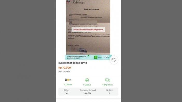 Penjelasan Tokopedia dan RS Mitra Keluarga Soal Viral Surat Bebas Covid-19 Dijual Online Rp70 Ribu