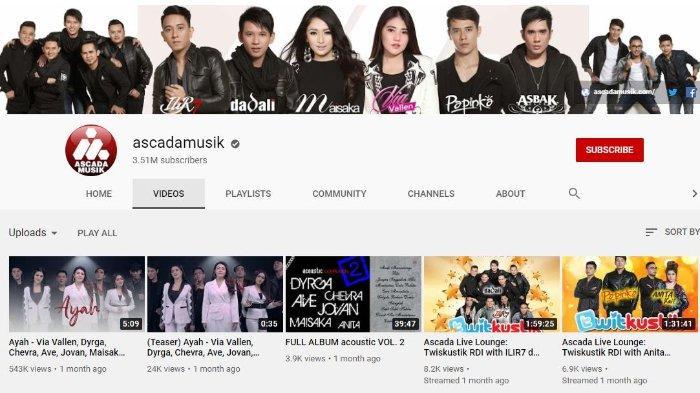 Tangkapan layar YouTube Ascada Musik