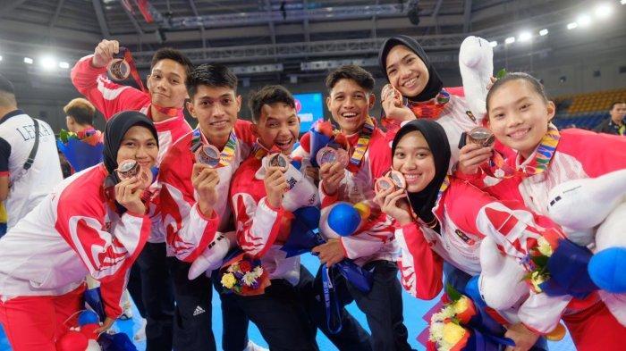 Timnas Taekwondo Indonesia di Sea Games 2019, Manila Filipina, foto bersama.