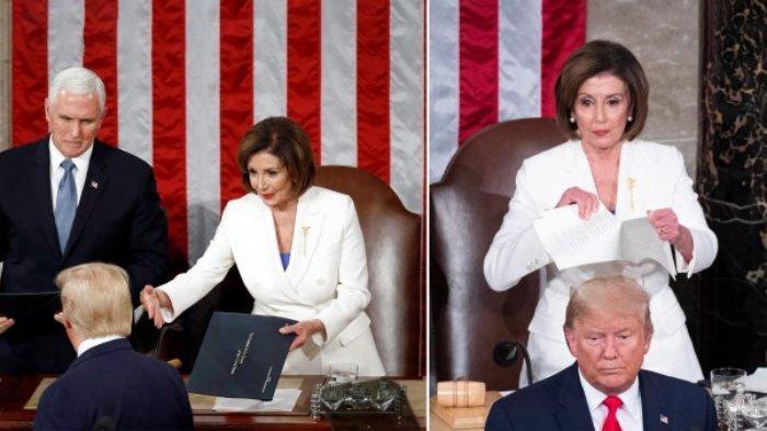 Donald Trump Lolos Pemakzulan; Enggan Jabat Tangan Ketua DPR AS dan Aksi Pelosi Robek Teks Pidatonya