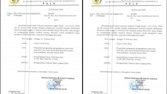 Undangan DPRD Palu dalam penetapan pengusulan Wali Kota Palu terpilih