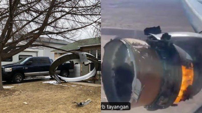 Viral di Twitter, Video Mesin Pesawat Maskapai AS Terbakar di Udara, Pecahannya Menimpa Pemukiman