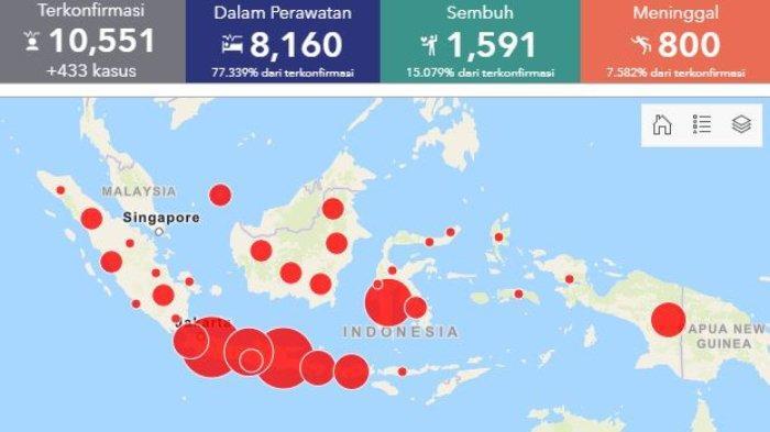 Sebaran Virus Corona di Indonesia per Jumat, 1 Mei 2020: Tiga Provinsi Catat Lebih dari Seribu Kasus