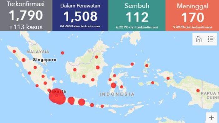 Daftar Sebaran Kasus Virus Corona di Indonesia per Kamis (2/4/2020): 1.790 Kasus di 32 Provinsi