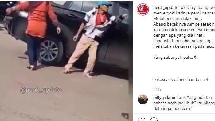 Viral Video Tukang Becak Ngamuk; Pergoki Istri Selingkuh dengan Pria Bermobil sampai Sesak Napas