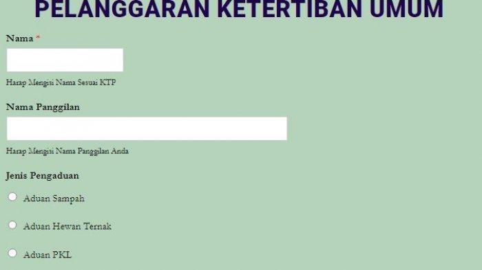 Website layanan penganduan Satpol PP Kota Palu pantaukotaku.com