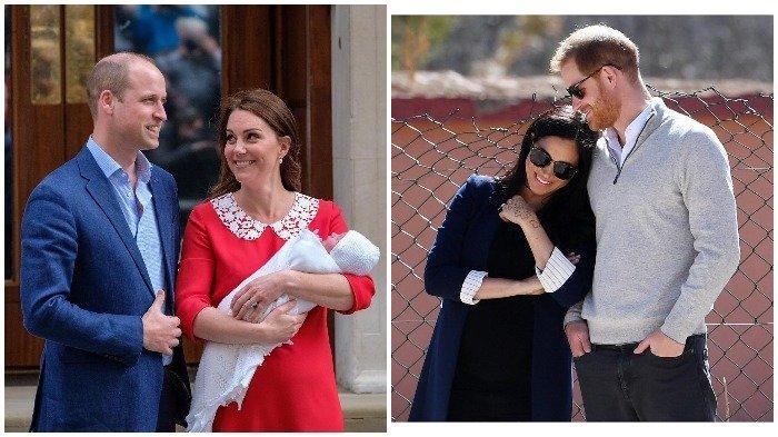 Pangeran William dan Kate Middleton saat kelahiran Pangeran Louis, serta Pangeran Harry dan Meghan Markle.