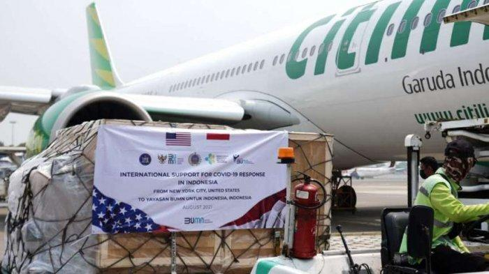 Pesawat Citilink Terbang PP Indonesia - Amerika, Angkut 176 Ventilator Bantuan dari AS