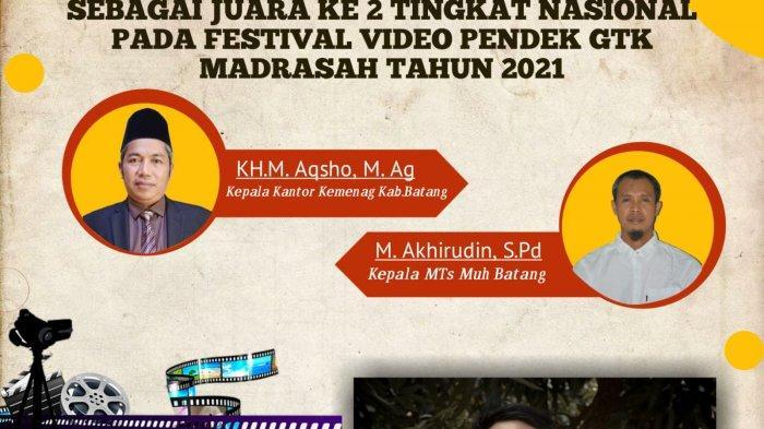 Karya Berjudul Bukan Sekedar Guru Bawa MTs Muhammadiyah Batang Juara 2 Festival Film Pendek