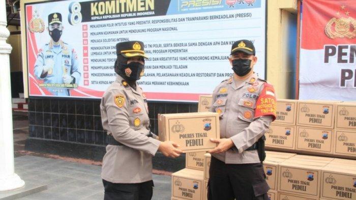 Salurkan Zakat Profesi, Polres Tegal Bagikan 500 Paket Sembako kepada Msyarakat yang Berhak