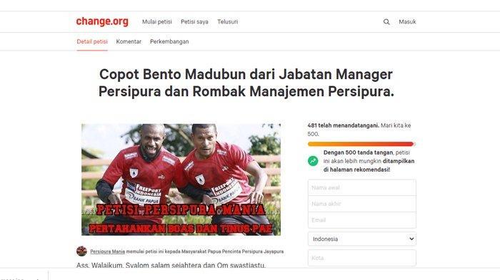 481 Partisipan Telah Menandatangani Petisi Copot Bento Madubun dari Manajer Persipura