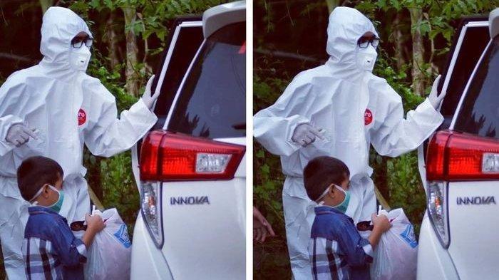 Viral Foto Pilu Bocah 8 Tahun Bawa Kresek Dijemput Petugas APD, 12 Orang Keluarganya Positif Corona