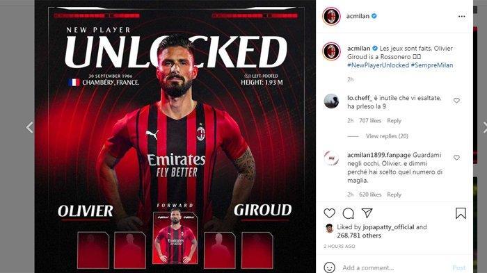 Resmi: Olivier Giroud Gabung AC Milan