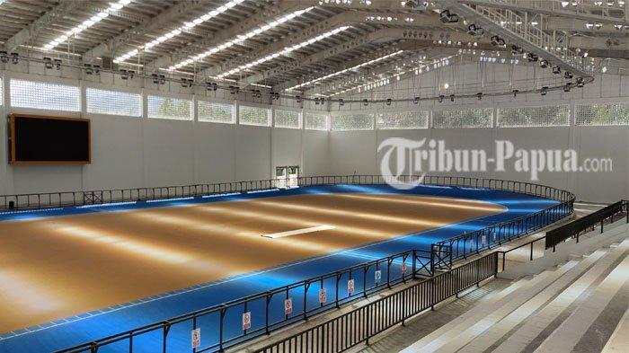 PON XX PAPUA - Tampak venue indoor cabang olahraga Sepatu Roda PON XX di kawasan Buper Waena, Kota Jayapura, memiliki fasilitas berstandar internasional dan menjadikannya nomor 1 di Asia Tenggara.