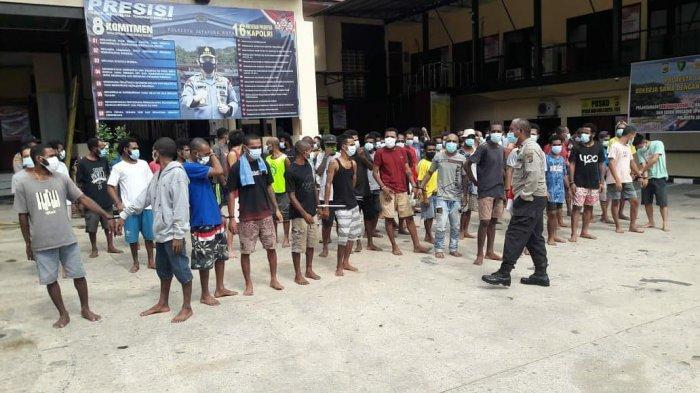 Cegah Covid-19, 75 Tahanan Polresta Jayapura Kota Dijemur di Bawah Sinar Matahari