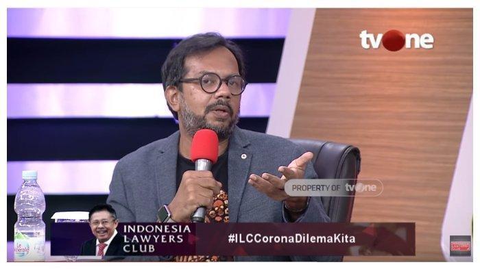 Anggota Koalisi Masyarakat Sipil, Haris Azhar dalam acara Indonesia Lawyer Club, Selasa (31/3/2020)