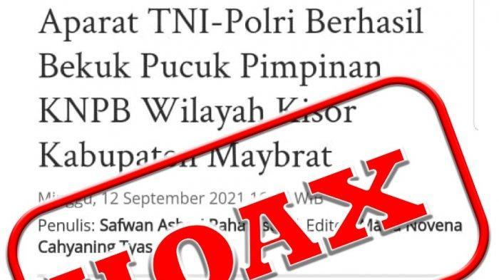Berita TribunPapuaBarat.com terkait penangkapan pentolan KNPB penyerang Posramil Kisor, dicap Hoaks.