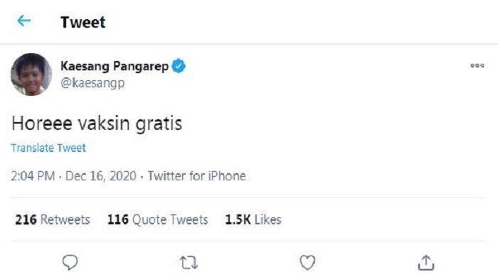 Cuitan akun Twitter @kaesangp, Rabu (16/12/2020). Putra bungsu Presiden Jokowi, Kaesang Pangarep girang menyambut kabar vaksin Covid-19 gratis.