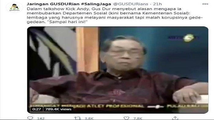 Cuitan Twitter/@GUSDURians, Minggu (6/12/2020). Kutipan wawancara antara mantan Presiden Indonesia ke-5 Abdurrahman Wahid alias Gus Dur dengan jurnalis Andy F Noya dalam acara Kick Andy pada tahun 2008.