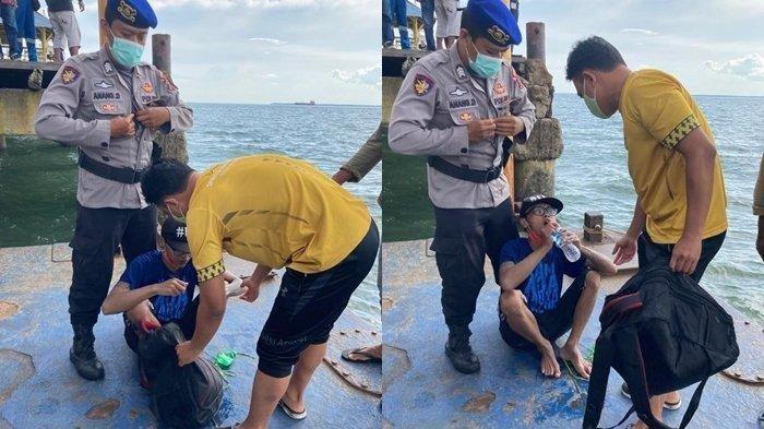 Tak Punya Uang untuk Pulang ke Malang dari Balikpapan, Pria Ini Nekat Berenang Pakai Galon di Lautan