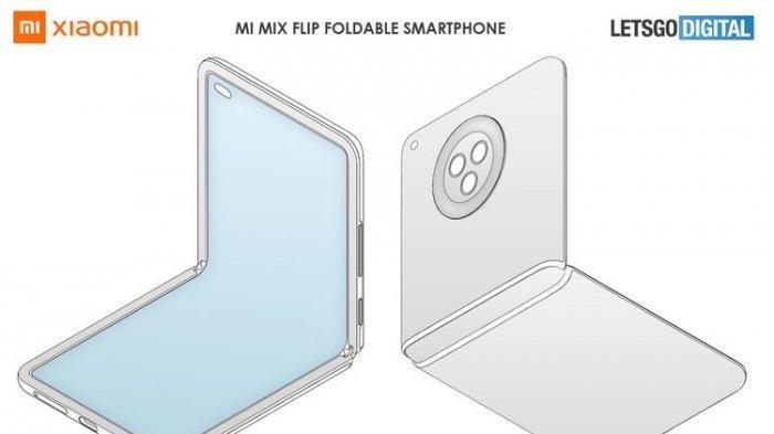 Desain ponsel layar lipat baru Xiaomi bermodel clamshell, mirip Samsung Galaxy Z Flip.