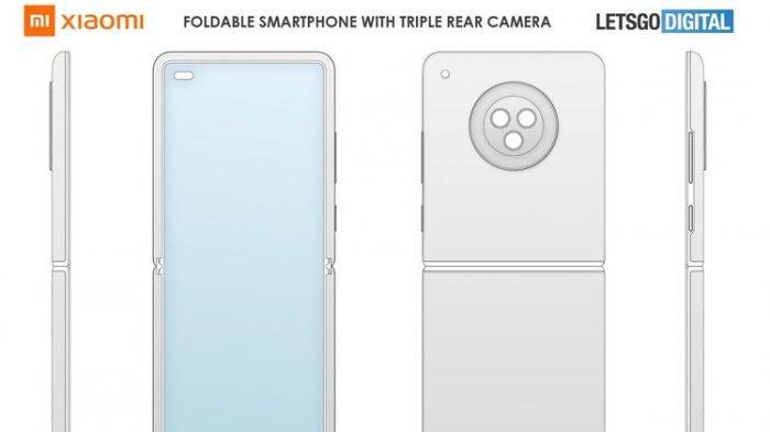 Desain ponsel layar lipat baru Xiaomi dari berbagai sisi.