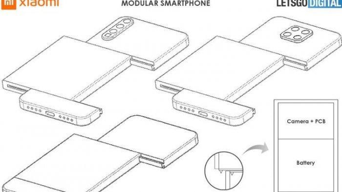 Dokumen paten ponsel modular Xiaomi.