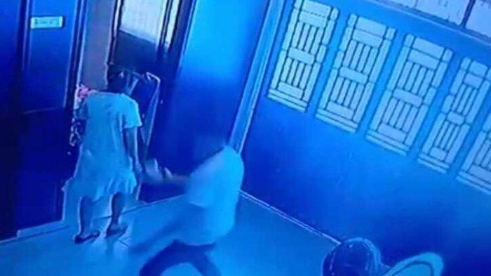 CCTV Rekam Detik-detik Suami Lakukan KDRT ke Istrinya, Anak Korban Ketakutan Dikejar Pelaku