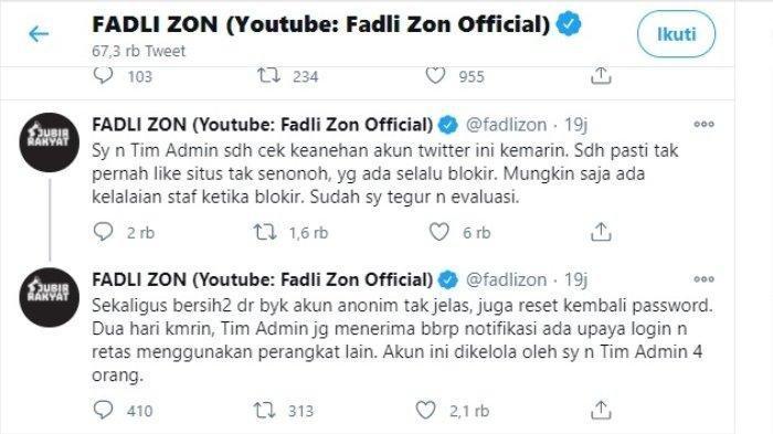 Fadli Zon memberi klarifikasi tentang akun Twitter miliknya menyukai video syur, Kamis (7/1/2021). Ia menyebut kemungkinan staf adminnya telah lalai sampai insiden itu terjadi.