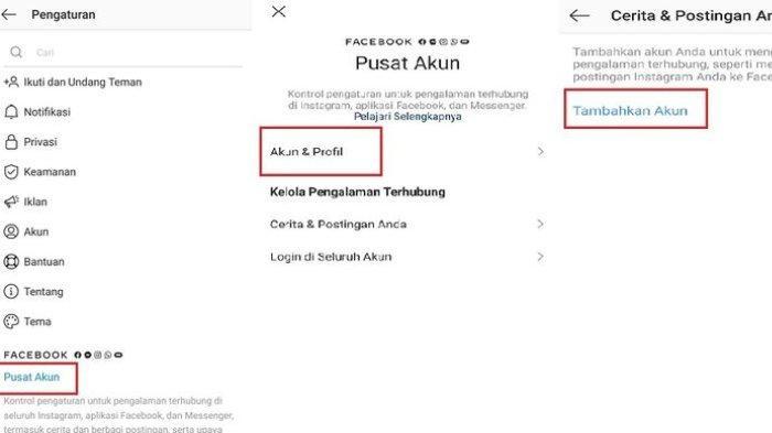 Tangkapan layar fitur Account Center (Pusat Akun) yang memungkinkan pengguna menghubungkan akun di aplikasi Instagram, Facebook, dan Messenger.