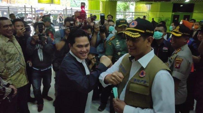 Gara-gara Virus Corona, Erick Thohir dan Kepala BNPB Lakukan Salam Siku sebelum Berpisah
