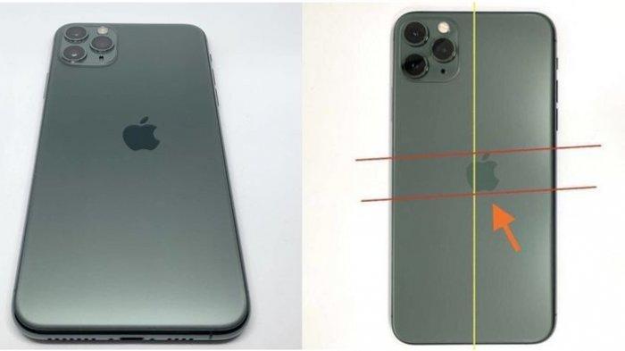 iPhone 11 Pro yang mengalami cacat cetak dengan logo yang tdak sejajar dan lebih condong ke kanan.