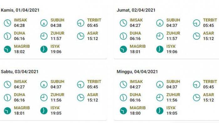 Jadwal salat, buka puasa, dan imsak untuk Bandung 1-4 April 2021