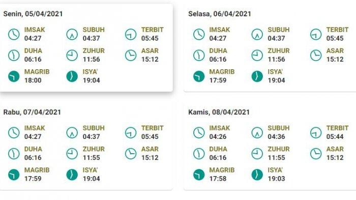 Jadwal salat, buka puasa, dan imsak untuk Bandung 5-8 April 2021