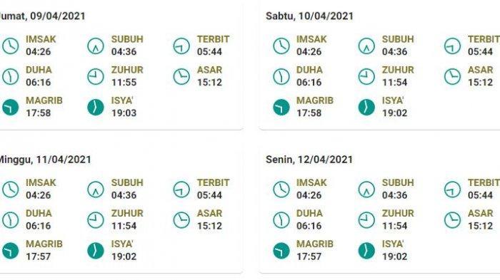 Jadwal salat, buka puasa, dan imsak untuk Bandung 9-12 April 2021